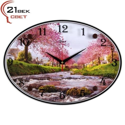 """Часы настенные """"Река при цветении сакуры"""""""